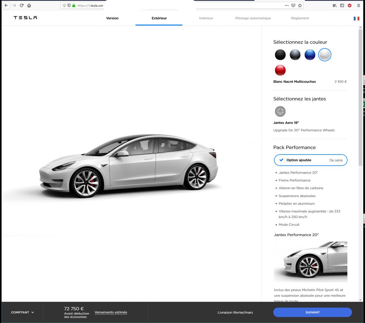 le configurateur de la model 3 europ enne est ouvert lr et performance uniquement tesla. Black Bedroom Furniture Sets. Home Design Ideas