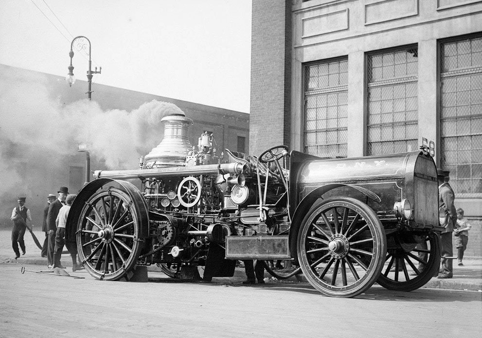 New York Fire Department demonstration of a steam pumper converted from horse-drawn to motor-driven, at 12th Avenue and 56th Street.jpg